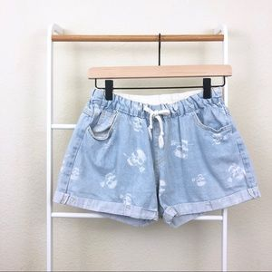 Light Wash Denim Skull Print Drawstring Shorts
